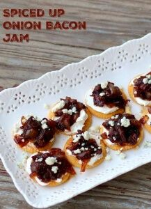 Onion Bacon Jam is spicy, sweet, tangy, and just plain good. Great on hamburgers or used with cream cheese on crackers. From Restlesschipotle.com