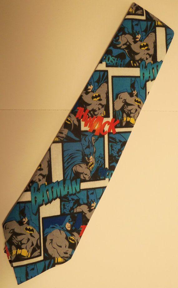 Batman Inspired Adult Necktie in Blue, White and Black ...