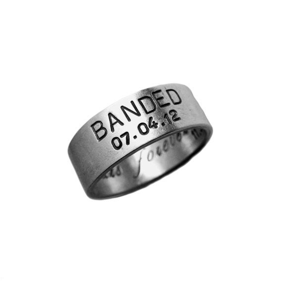 Modern Gold Duck Band Hand Stamped Wedding Date Custom Personalized Ring Engraved Artisan Handmade Fine Designer Fashion Unisex Jewelry