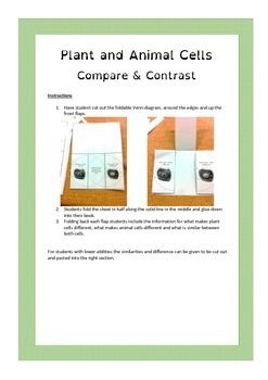 This fold-able Venn diagram allows students to compare and contrast plant and animal cells.For students of high ability they can write the differences in the correct section. For students with lower abilities there are statements that they can cut and paste into the correct area.Also availableCell organelle matching cardsCell organelle flap book
