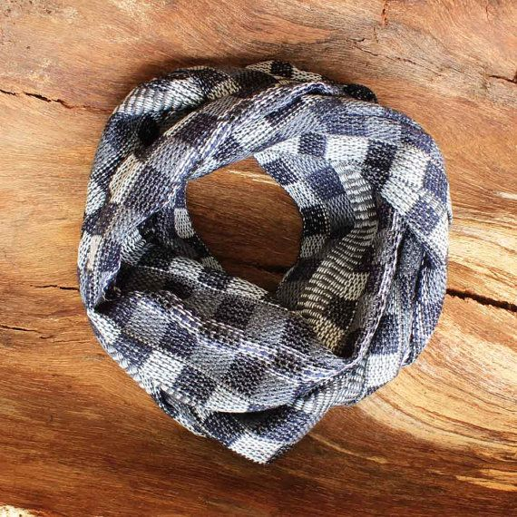 Plaid Infinity Scarf  Navy Infinity Scarf  by ArtisansintheAndes