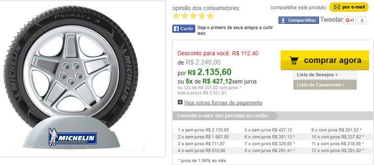 Kit com 4 Pneus Aro 17 225/50 R17 98V Primacy 3 Michelin << R$ 213560 em 5 vezes >>
