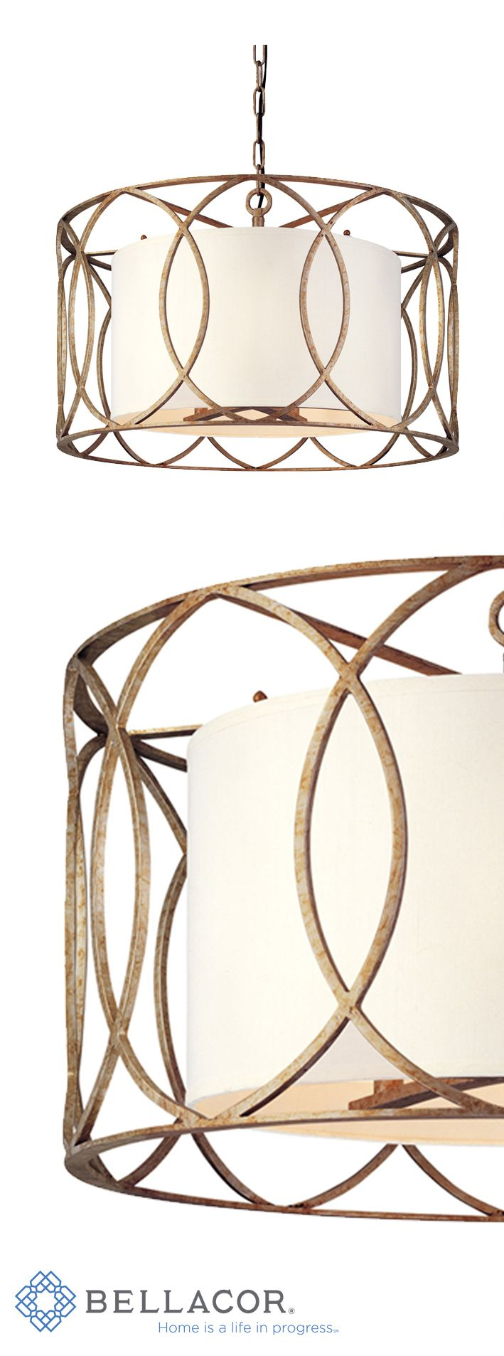 A lovely hand-worked wrought iron lamp. A linen shade with an elegant silver/gold finish. @www.bellacor.com/