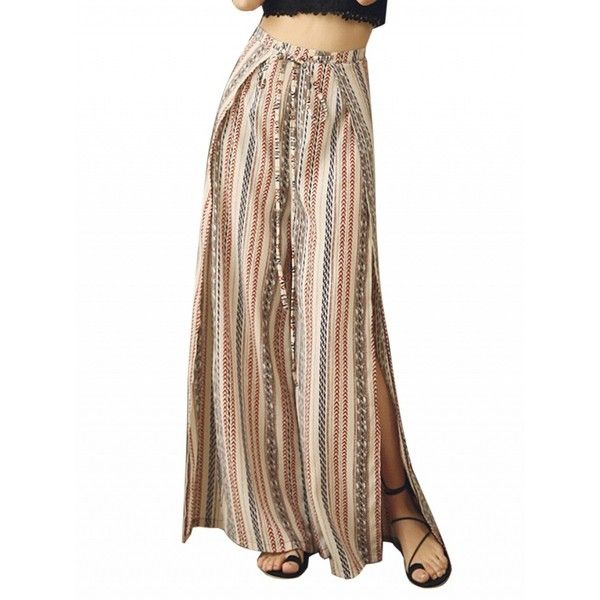 Choies Multicolor High Waist Tribe Pattern Side Split Wide Leg Palazzo... ($22) ❤ liked on Polyvore featuring pants, blue, tribal print pants, high-waisted pants, high-waisted palazzo pants, blue palazzo pants and high waist pants