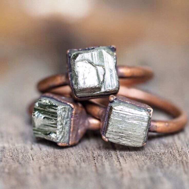 Pyrite and Copper Rings || The raddest rings going around || Shop them now in our 'Copper' collection || www.indieandharper.com