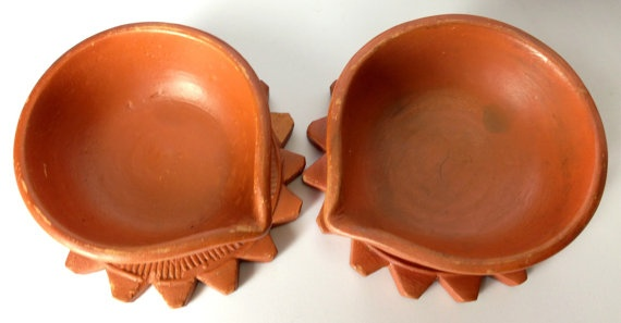 Set of 2 Handmade Clay Tea Lights Oil Candle by IsabelsTreasureBox, $7.99