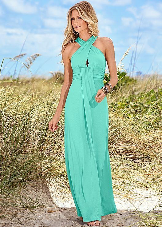 Crisscross features front and back! The graceful draping show off your inner goddess.Venus keyhole maxi dress paired with embellished thong sandal.