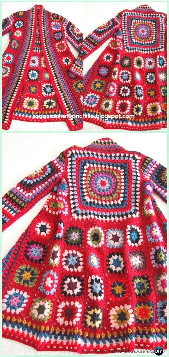 Crochet BOHO Granny Square Patchwork Jacket Free Pattern - Crochet Granny Square Jacket Coat Free Patterns