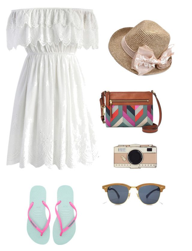 """Sunday and beach! #ayunritaretnani"" by ayunritaretnani on Polyvore featuring Chicwish, Havaianas, FOSSIL and Kate Spade"