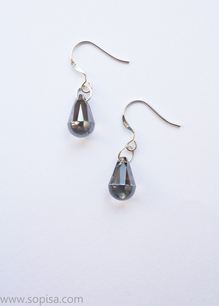 Sterling Silver Earrings With Crystalc - Sopisa