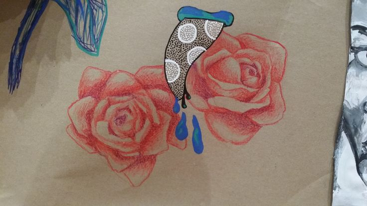 collaborative drawing - colour pencils - floral motif from photographic source
