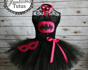 Batgirl rosa inspirado vestido con máscara | Vestido de super héroe | niño recién nacido-tamaño 10 listado