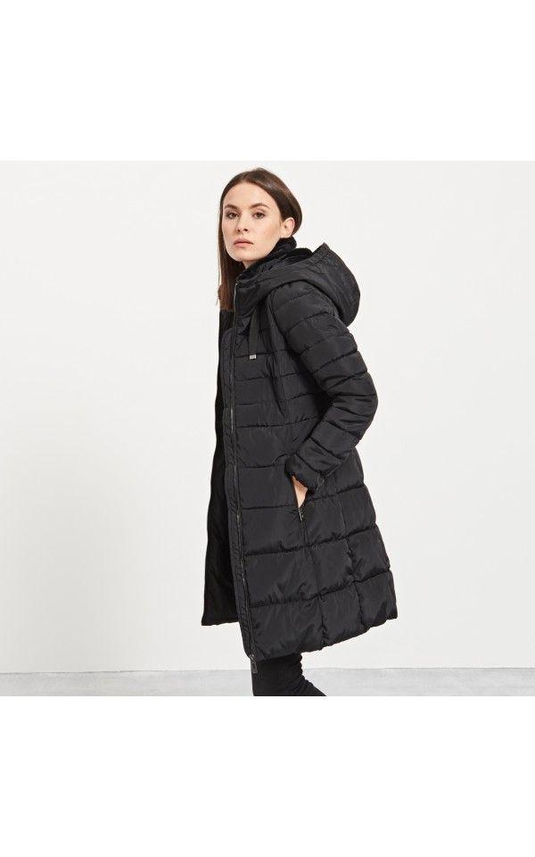 Pikowany płaszcz kapturem, NOWOŚCI, czarny, RESERVED