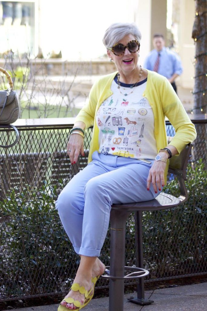 J.Crew New York tee, Boden Blue Chinos, J.Crew Italian Cashmere Cardigan, Boden Yellow Sandals, Gucci Bamboo Handbag