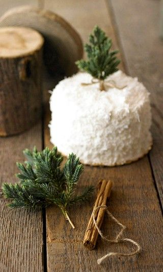 christmas coconut cake - tree topper // this is so simple, yet beautiful!! Perfect for a holiday party or winter gathering