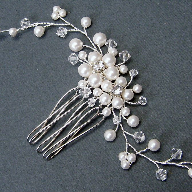 Floral Bridal Hair Comb - Swarovski White Pearls Clear crystal rhinestone Silver Comb - Wedding Hair accessories Brides Hair Pieces.