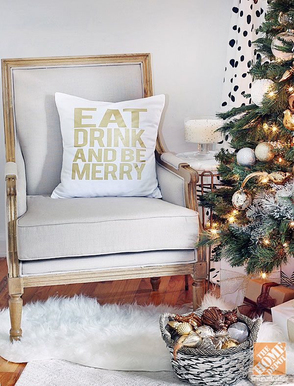 Black White & Gold Holiday Decor   Home Decorator's Marie Chair   Michelle Dwight Designs Pillow