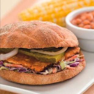 Meatless Monday: Try this Delicious BBQ Tofu Sandwich from @EatingWell. Though vegetarian BBQ may be an oxymoron, once you take a bite of this delicious tofu sandwich topped with coleslaw and dill pickles you won't mind the contradiction. Serve with: Baked beans and corn on the cob.