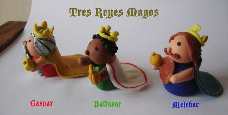 Tres reyes magos. The three wise men. Porcelanciron. Polymer Clay