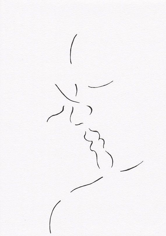 Romantic lovers kiss illustration by siret. #kiss #illustration #drawing #art #minimalist #ink