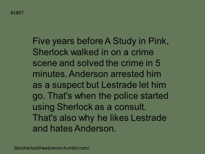 Sherlock Head Canon....uh alright then but I still say he wouldnt like Anderson much anyways...