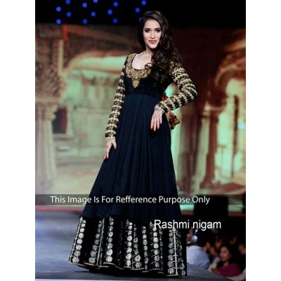 Rashmi Nigam Black Bueaty Anarkali Dress  with Black Color Santoon Bottom With Black color Pure Dupatta, Satin Inner.It contained the work of Embodery Work with Lace border.The Salwar Suits Which can be customzied up to bust size 42