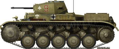Panzer-ll (Pz.Kpfw. II Ausf.C): This version appeared in June 1938. The early production vehicles can be visually distinguished from the later by their rounded front hull. The later were much up-armoured, notably with extra plates bolted to the frontal glacis and turret. The Ausf.C was the main variant used throughout WW2 and produced until mid 1941. During 1939-40, it was also the most largely available tank for the Panzertruppen.