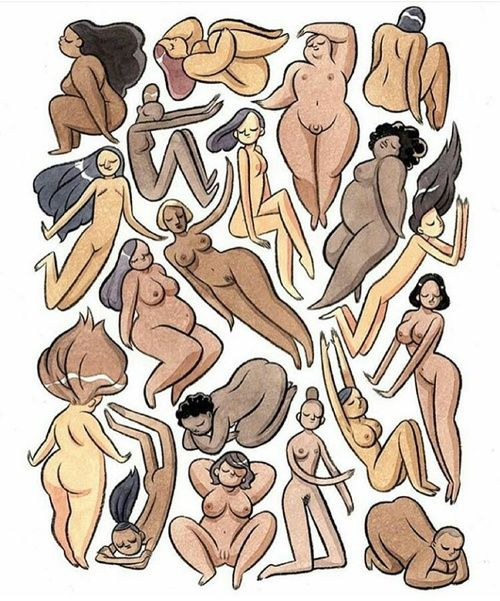 illustration of women of all shapes, colours and sizes. beautiful people, colors, diversity, respect, around the world, feminist art, photo, image, body love (pinned by theradishsociety.com)