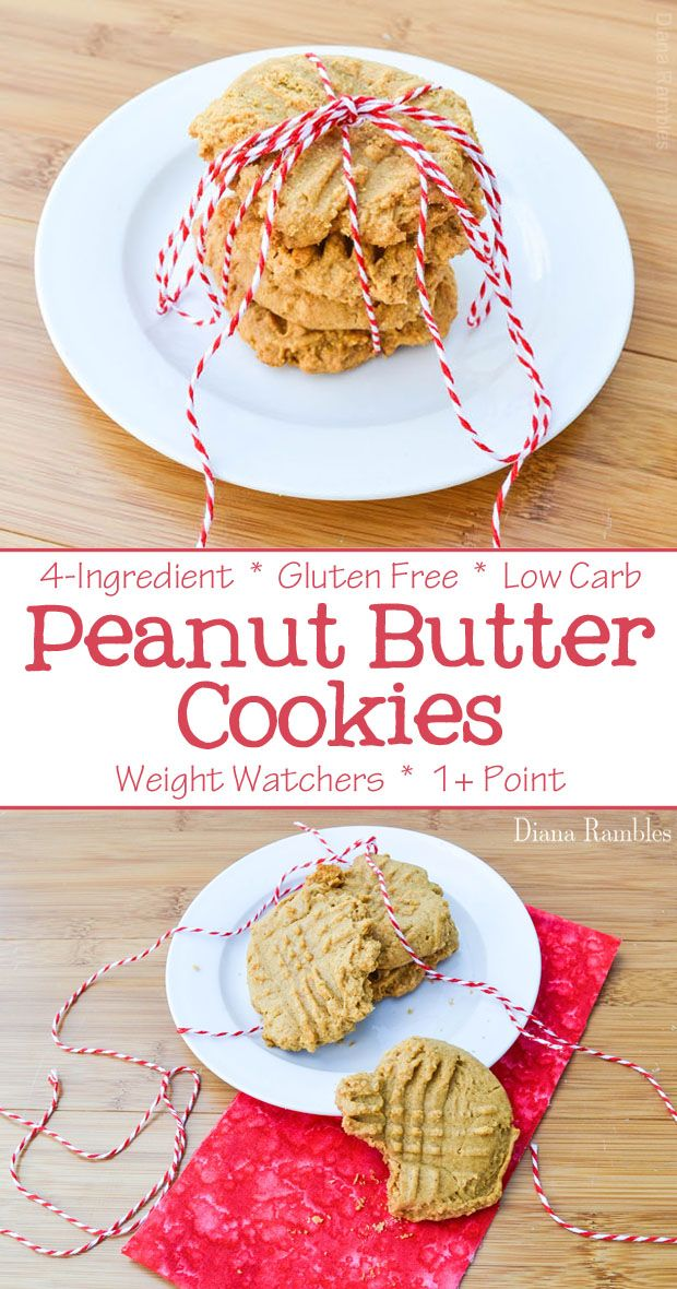 Healthier Peanut Butter Cookies Recipe - Looking for Low Carb or Gluten Free Cookies? Try this flourless Peanut Butter Cookies recipe made with just 4 simple ingredients. It's a 1 point Weight Watchers dessert. #lowcarb #glutenfree #WW #1point #peanutbutter #cookies
