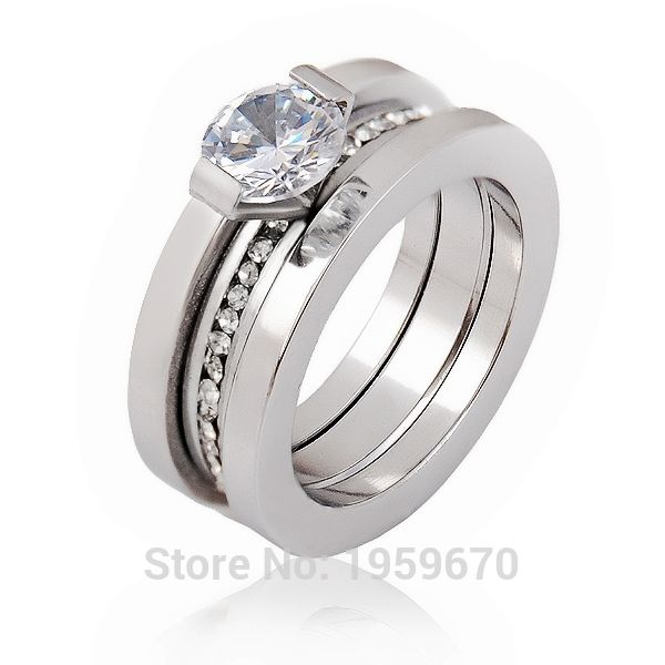 Famous Brand Vintage Silver Steel Zirconia Cubica Engagement Wedding Promise Rings For Men Women Love Party Fine Crystal Jewelry
