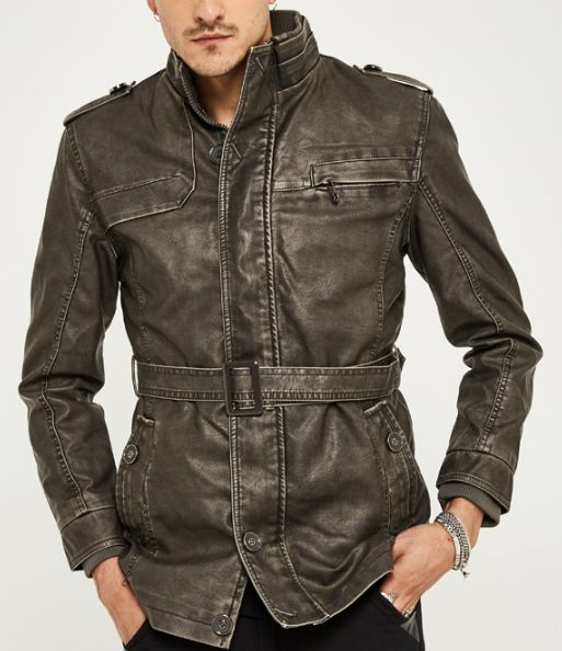 Men's Casual PU Leather Jacket With Collar