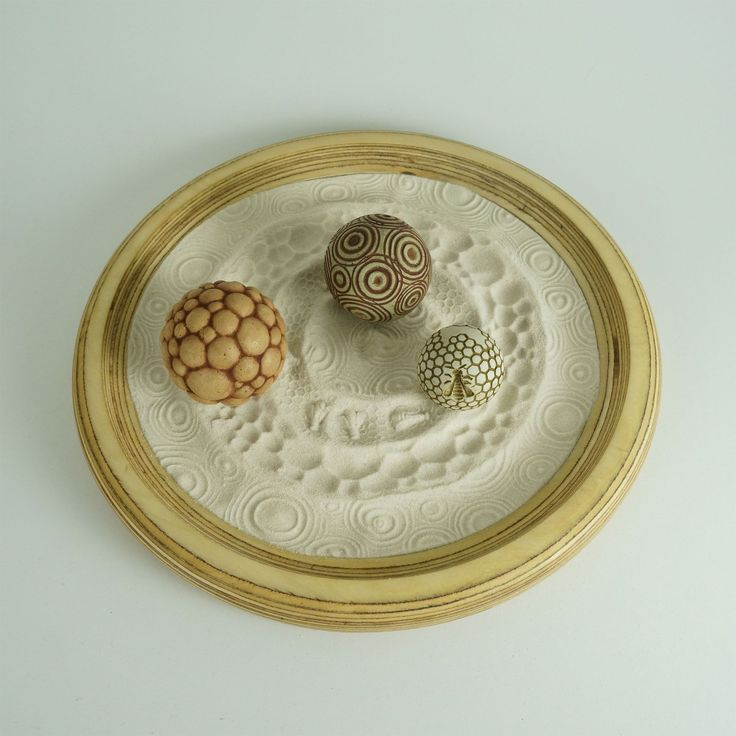 "Desktop Zen Garden, The Life Package: 12"" Circular Wooden Tray w/Sand & 3 Cement Spheres"