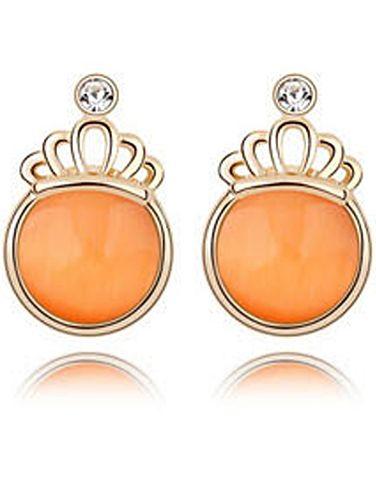 Orange Gemstone Gold Crown Earrings 7.26