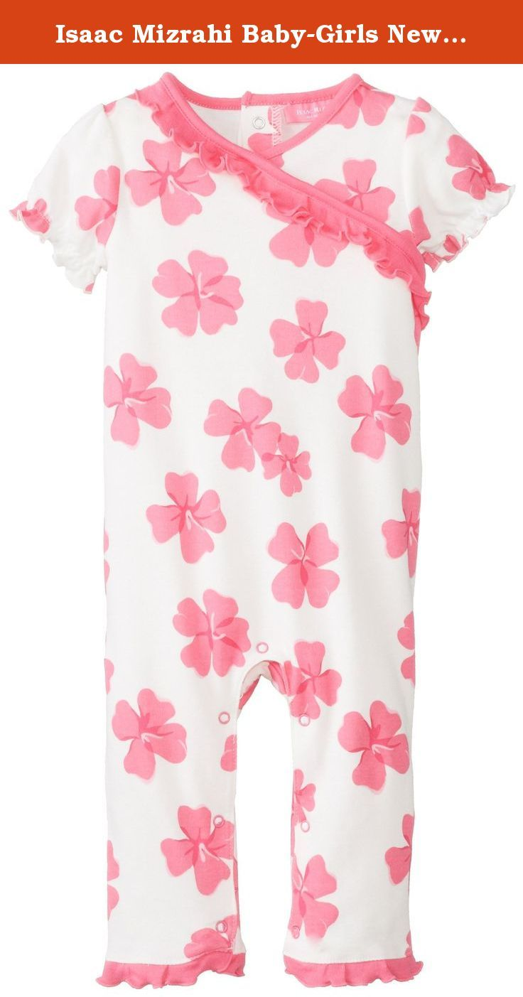 Isaac Mizrahi Baby-Girls Newborn Short Sleeve Coverall with Ruffle Trim, Multi, 6-9 Months. Inches cotton short sleeve bodysuit with 3 satin bows, tulle tutu, lap shoulder neck opening with picot stitch detail, and 3-snap closure at inseam for easy on off dressing.