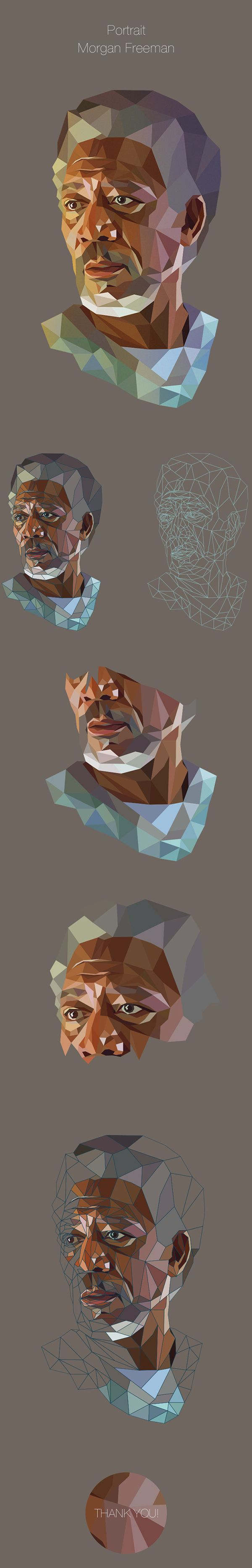 Low Poly Portrait on Behance https://www.behance.net/gallery/21440501/Low-Poly-Portrait