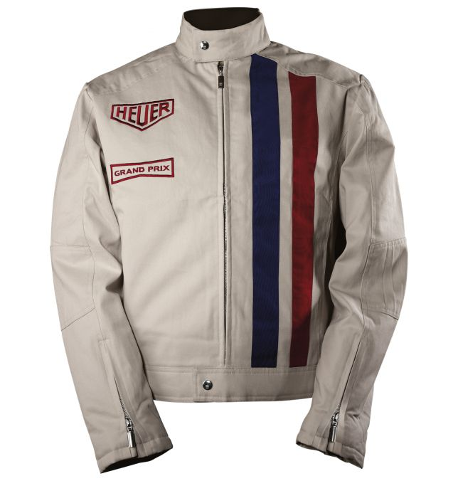 Tag Heuer jacket inspired by the racing suit worn by Steve McQueen in Le Mans.