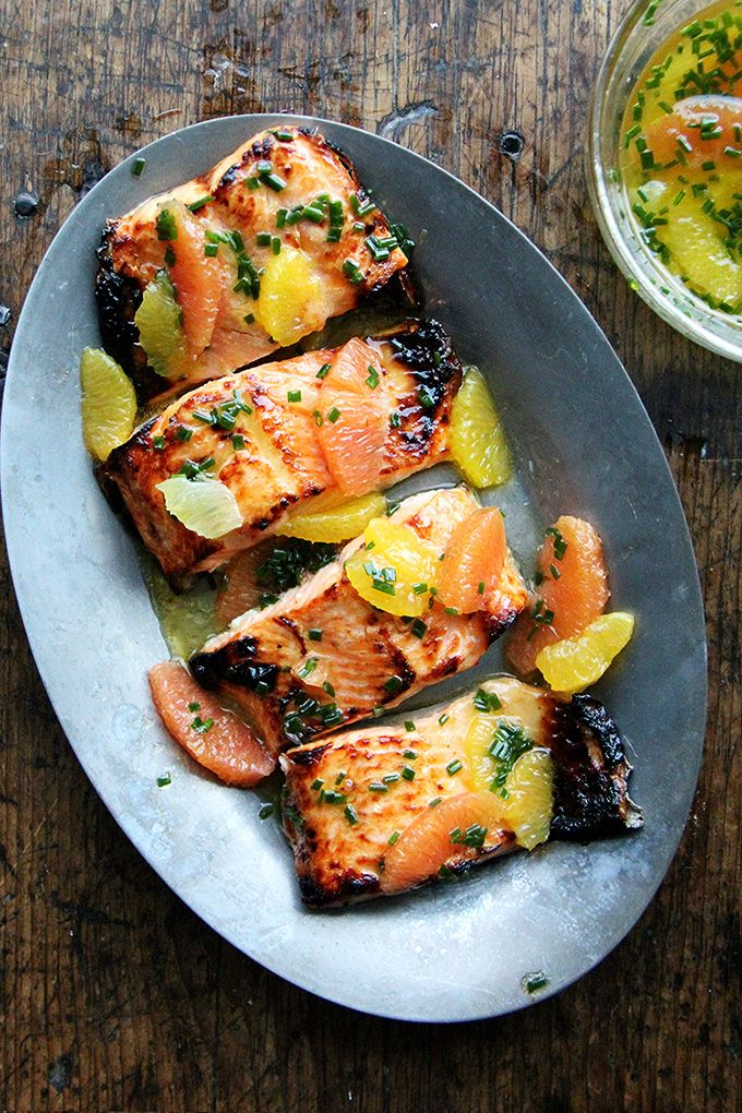 Dinner tonight: Broiled arctic char meets citrus sauce, a longtime favorite recipe from Sally Schneider's A New Way to Cook. It's simple: segment a mix of oranges and lemon, dress them with a small amount of olive oil and chives, and season with salt. Here, the char is briefly marinated in a mix of equal...