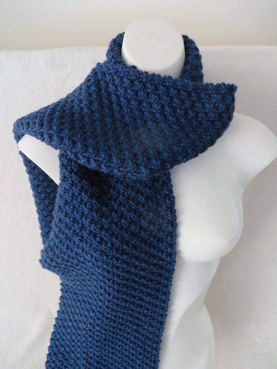 Denim Blue Knit Scarf Textured Knit Dark Blue Scarf