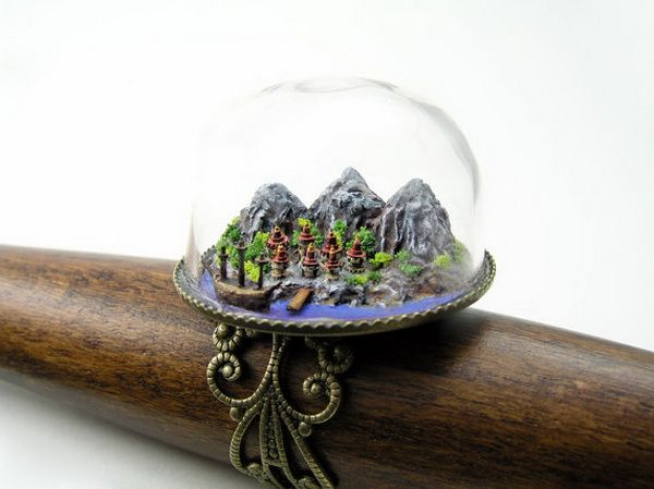 Polymer Clay Planet: Micro Word Ring by MICRO JEWELLERY