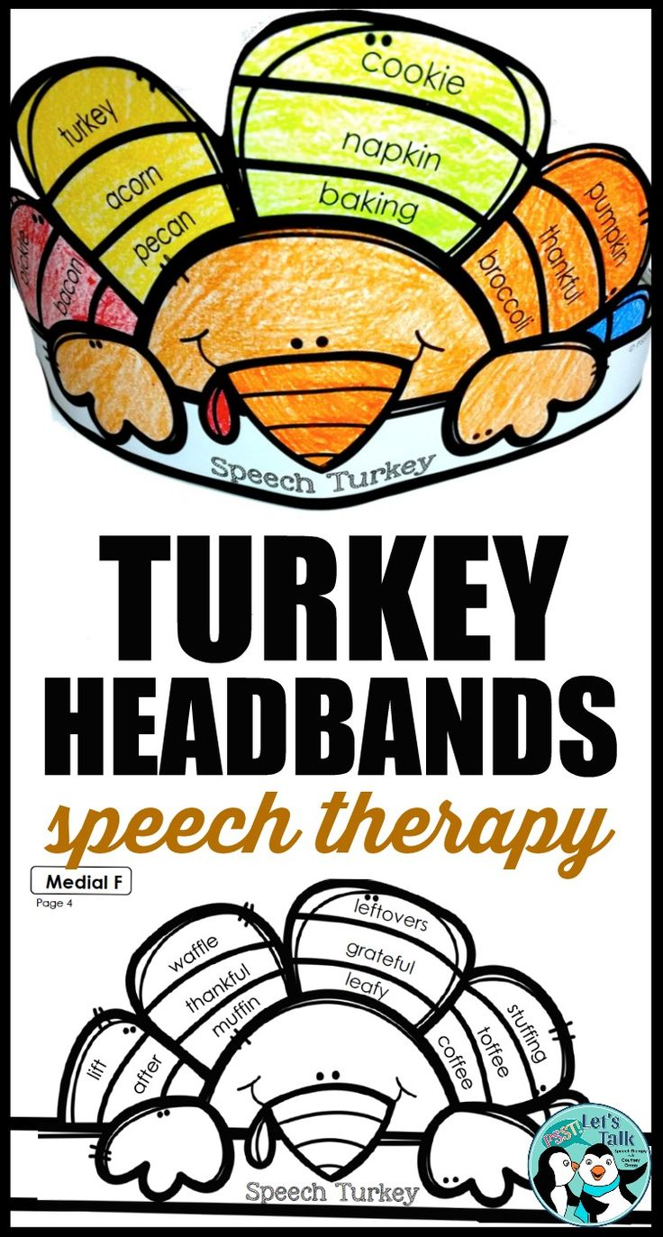 Students LOVE making turkey headbands for Thanksgiving in speech therapy! Print-and-go articulation crafts/ activities are great for SLPs with low prep time. #thanksgivingideas #speechtherapy #turkeycraft