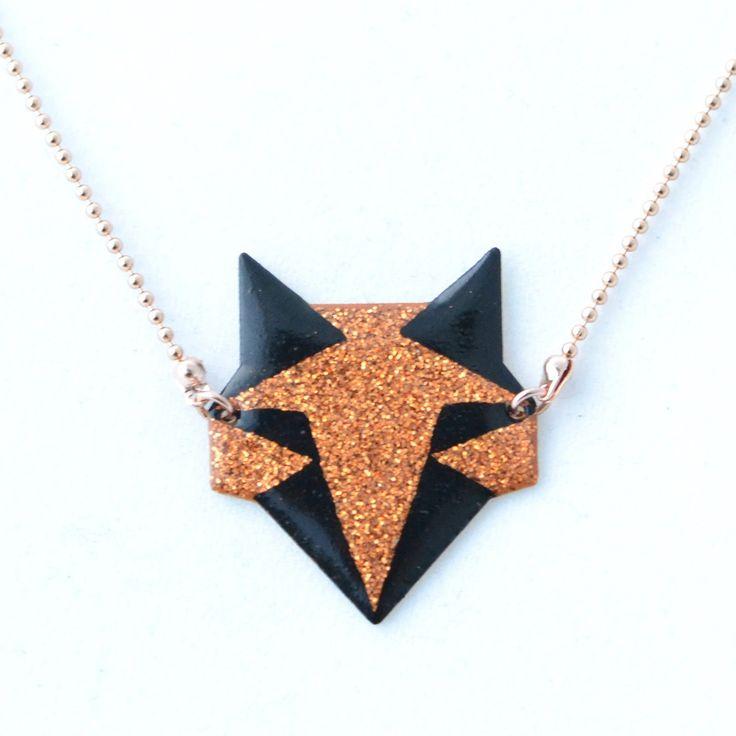 Pendentif origami renard noir et cuivré pailleté : Pendentif par crealina-shop