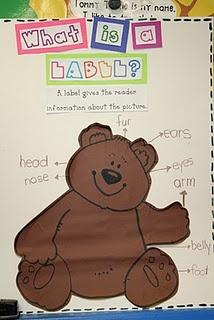 Labeling chart: Lee Kindergarten, Teddy Bears, Schools Ideas, Kindergarten September, Labels Lessons, Classroom Ideas, Anchors Charts, Writers Workshop, September 2011
