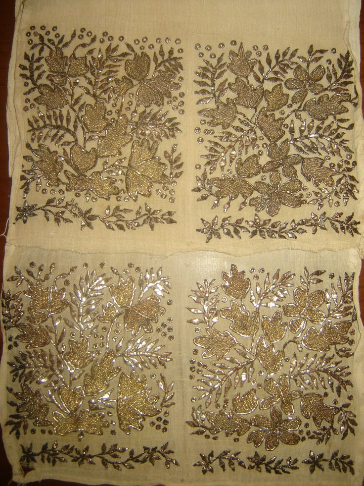 ottoman embroidery | ... ANTIQUE OTTOMAN-TURKISH GOLD METALLIC HAND EMBROIDERY ON LINEN