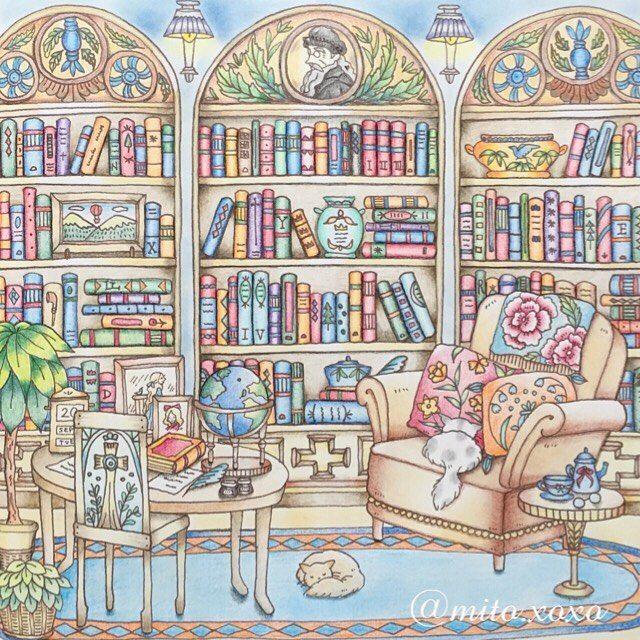 No.41✧‧˚(2016.04.24) * ひぃひぃ もう本は塗れません …という夢まで見てしまった。笑 * ロマカンⅢ アンブローズ城の書斎…