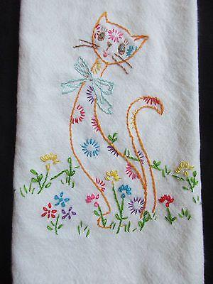 Vintage inspirou Floral Bordado À Mão Gato Em Algodão Cozinha Toalha De Mão