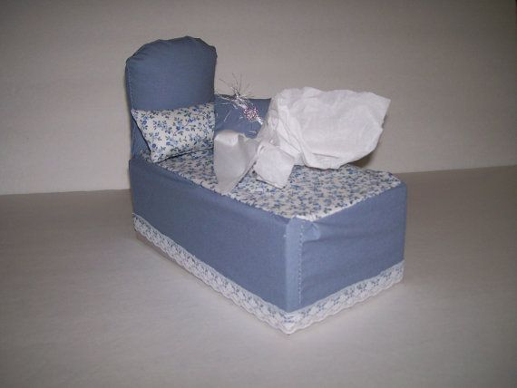 Bed Shaped  Tissue Box Cover  Two Mini Pillows  by oldspoolmom