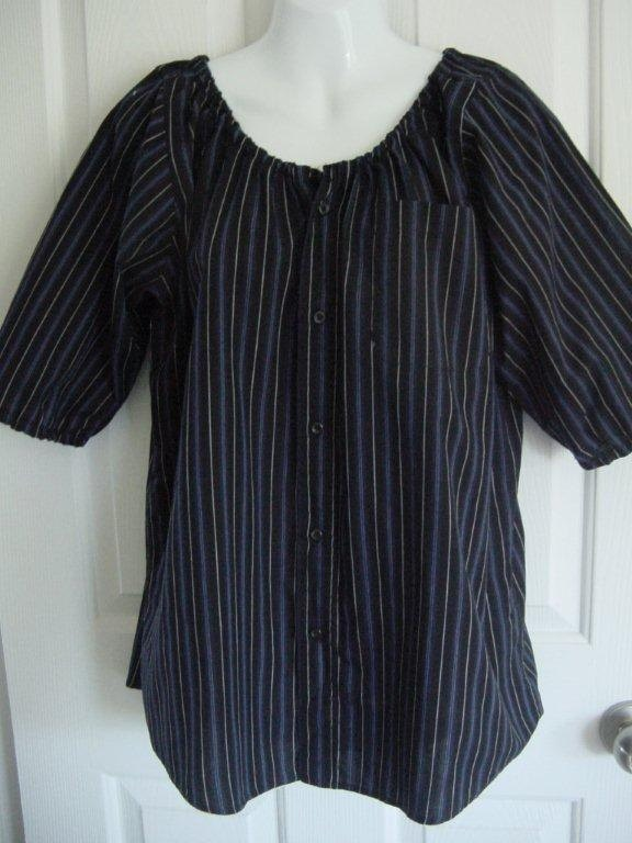 A peasant blouse made from a man's shirt!  What a cute top...and comfortable too!  I think I may need a few of these!