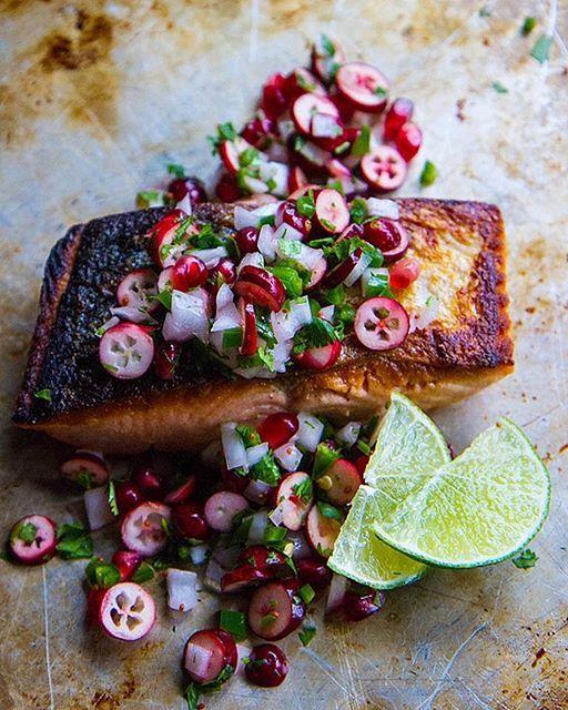 Crispy Pan Fried Salmon With Winter Fruit Salsa via @feedfeed on https://thefeedfeed.com/gluten-free-dinners-sides/heatherchristo/crispy-pan-fried-salmon-with-winter-fruit-salsa