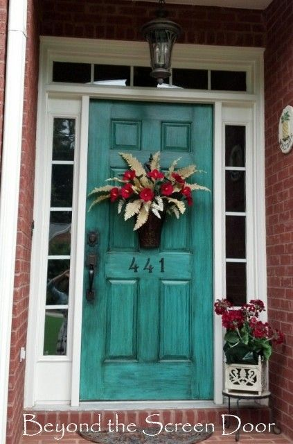 A Collection of Turquoise Doors   Beyond the Screen Door.  LOVE the black glaze over this one! Looks more rustic!