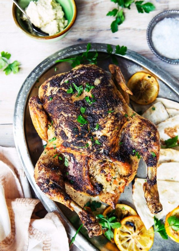Sumac Roast Chicken with Couscous stuffing. Packed full of delicious Middle Eastern flavours.